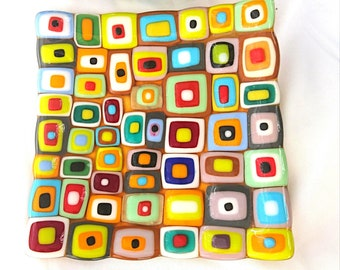 Flat plate tiles fused glass fusing