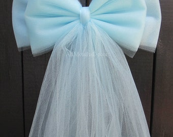Light Blue Tulle Bow | Wedding Ceremony | Bridal Baby Shower | Gender Reveal It's A Boy