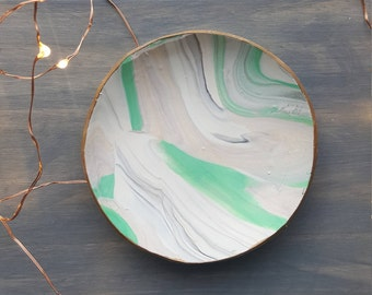 Bright Green Marbled Ring Dish