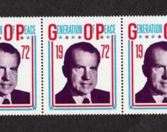 Richard Nixon, Lot 5 Nixon Stamps, 1972 Political Stamps, President Nixon, Politics, Politician, Political, Political Advertising