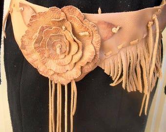 Leather Flower And Fringe Belt