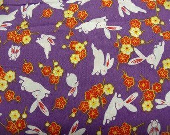 Rabbit - purple and white printed cotton fabric
