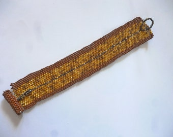 Red and Gold Bead-Woven Cuff Bracelet