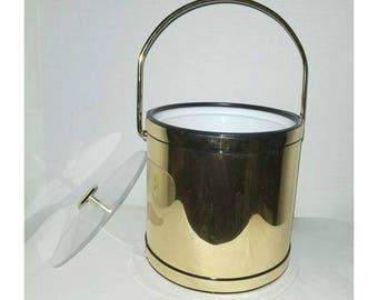 Vintage Gold Ice Bucket,Gold Ice Bucket,Mad Men,Atomic,Gold Barware,Ice Bucket,Vintage Ice Bucket,Hollywood Regency, Deco,1960s