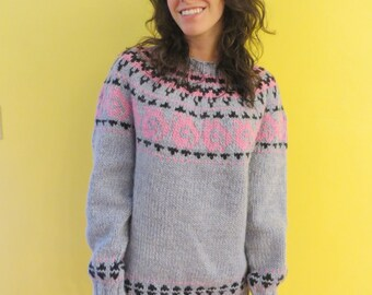 Woman's wool bulky weight Icelandic style sweater
