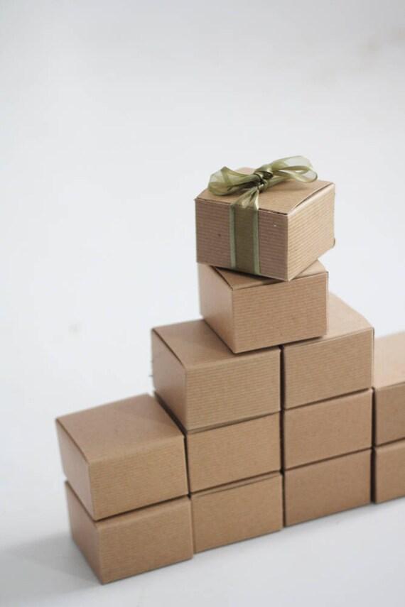 Set of 25 Kraft Natural Gift Box  3x3x2  ( 3 in x 3 in x 2 in )  - With Pinstripe Texture