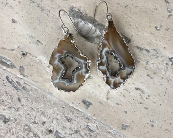 Silver Plated Brown/White/Black Titanium Druzy Geode Earrings