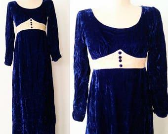 70s Vtg Crushed Velvet Dress / 1970s Vintage Blue Velvet Dress / Juliette Empire Dress XS