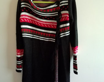 Black and White and Red all Over- Long Poncho