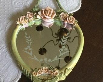 Green Distressed Tracy Porter Metal Heart Shaped Glass Wall Hanging/Mirror with Pink Roses