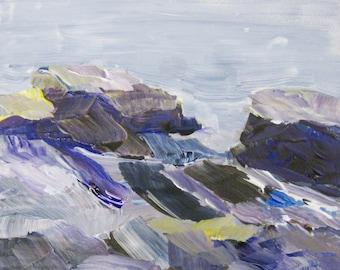 Paysage marin abstrait peinture Pemaquid Maine peinture acrylique Plein Air Art Original par l'artiste Kathleen Daughan Massachusetts roches paysage marin