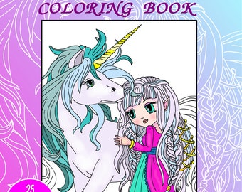 Coloring book for girls ANIME Princess and Fairies
