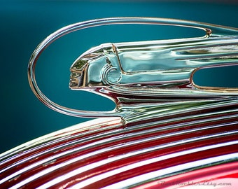 1936 Pontiac Hood Ornament - Vintage Wall Art - Retro Print - Vintage Car Photography - Garage Art - Father's Day - 8x10 - Red - Turquoise