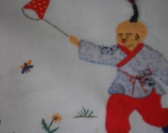 Vintage tea towel. appliqued tea towel. Oriental inspired tea towel, Boy catching butterflies, Asian boy