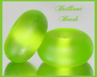 """Frosted Bright Spring Green...""""Sea Glass"""" Spacer Bead Pair...Handmade Lampwork Beads SRA, Made To Order"""