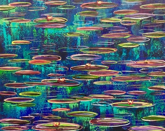 Water Lilies #07 Original Painting 24 x 30 inch Large Oil Painting