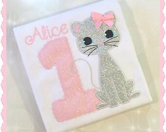 Girl's Birthday Shirt - Personalized Kitty Cat Birthday Shirt - Kitty Shirt - embroidered Shirt - cat party - Kitty Cat Birthday