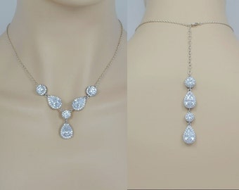 Bridal Zirconia Crystal Necklace, Wedding Jewelry, Silver Tone, Rose Gold Tone, Teardrop, Backdrop, Aria - Will Ship in 1-3 Business Days
