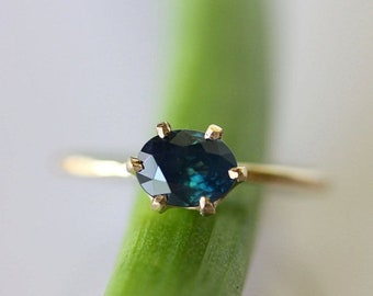 Summer Sale - Blue Sapphire In 14K Gold Ring - Custom Made For You