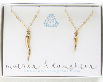 Mother & Daughter Gift • Italian Horn Necklaces • Good Luck Charm • Amulet • Italian Family Gift • Mother's Day Gift • Gift for Italian Girl