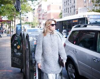 Knit Loose Sweater - Long Knit Chunky Sweater - Women's Textured Sweater - Chunky Women's Knitted Sweater - Oversized Knitted Sweater GIZA