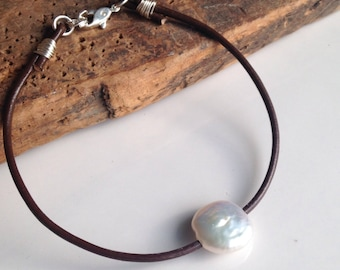 Leather Anklet, Coin Pearl Anklet, Coin Pearl, Beaded Anklet, Pearl Anklet, Bridesmaid Gift, Etsy Jewelry, Boho, Bohemian, Large Hole Pearl