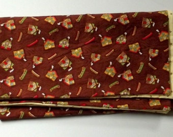 Brown and Yellow Baby Blanket with  Houses and Canoes
