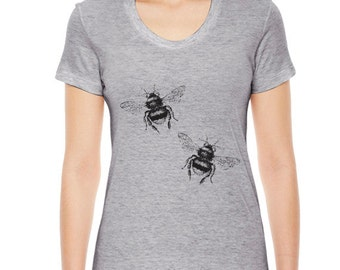 Womens BEE T Shirt Gift for The Garener Bumblebee Womens TShirt Ladies Clothing