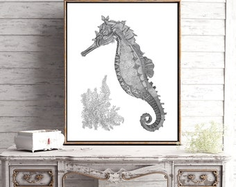 Seahorse with Coral pen and ink illustration print limited edition signed and numbered