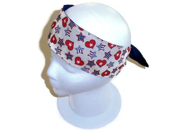 Womens Turban Headband, Patriotic Knot Scarf Headband, Neck Scarf, Military Headband, Red White and Blue, 4th of July Bandanna, Womens Gift