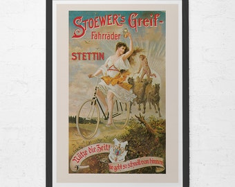 CLASSIC BICYCLE POSTER - Antique German Bicycle Poster - Art Nouveau Poster, High Quality Giclee Print, Belle Epoque Bike Poster