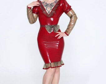 Elegant rubber latex dress with bow and ruffles