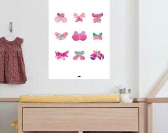 Plakat, Schmetterling, Schmetterlinge, Kinder Zimmer Kunstposter, A3 Print-Illustration Aquarell
