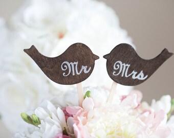 Wedding Cake Topper Love Birds Mr & Mrs