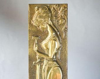 Brass Repousse Women with sword metalworking art vintage. Brass epic hero panel Handmade Dimensional wall art. Metal toolingrelief wall art