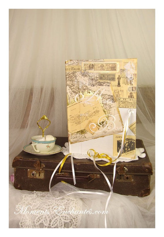 Wedding Guest book Travel Personalized with your name your destination Your colors