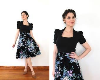 50s Style Dress / 80s 90s does 50s Dress / 1950s Style Black Full Skirt Dark Floral Dress