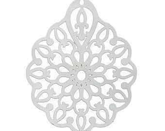 Set of 10 prints charm filigree silver 36x26mm steel SC59515