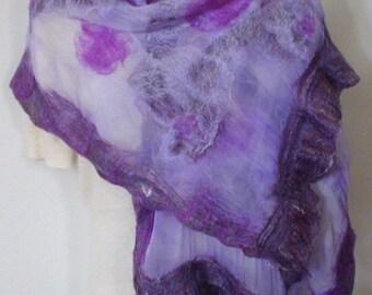 Merino Wool and Silk Nuno Felted Shawl, Violet & Amethyst, Wrap, Cape, Free Shipping