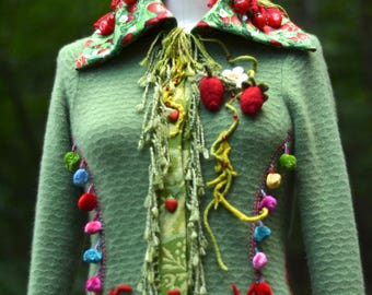 Cashmere boho Sweater COAT, fantasy wearable art clothing, fairy pixie up cycled OOAK Eco-Couture, Gypsy festival Coat.Size L. Ready to ship