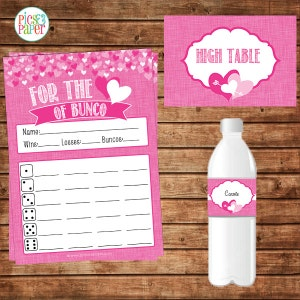 Valentine's Day Bunco Score Sheet Cards with Pink Hearts- Table Signs and Water Bottle Labels Included