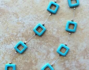 Short Necklace, Stones, Turquoise Stone, Turquoise Stone Necklace, Boho Necklace, Rustic, Gypsy