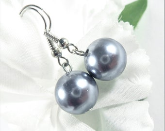 Gray Earrings, Glass Ball Earrings, Simple Earrings, Inexpensive Earrings, Boho Chic Fashion Earrings, Womens Jewelry, Grey Earrings