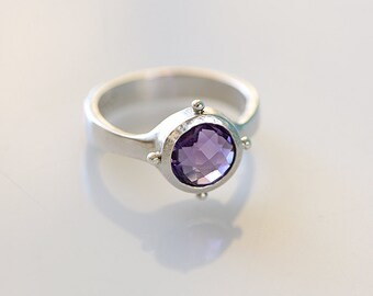 SALE - Amethyst Silver Ring, Unique Amethyst Silver Ring, Size 7