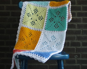 Crochet baby blanket, crochet blanket, crochet square blanket, new baby gift, crochet blanket, baby shower gift, victorian lace squares