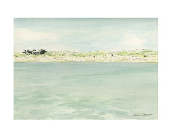 St. Catherine's Island Georgia Beach Watercolor Fine Art Print