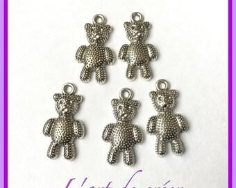 10 charms bear, Teddy bear, Teddy bear, silver color charms