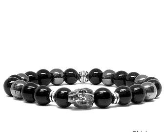 Silver Night Swarovski Crystal Skulls Men's Bracelet