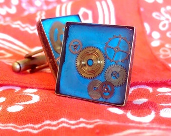 Luminous Steampunk cufflinks, in Bronze uses Swiss vintage cogs + glow in the dark resin. Gift for Him, 8th Wedding Anniversary, retro.