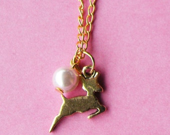 Sweet Golden Fawn Necklace